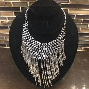 Silver hanging Aztec necklace